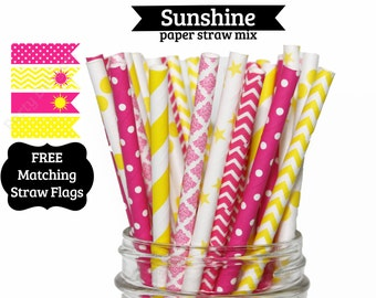 25 Yellow Pink You are my Sunshine Paper Straw Mix  PAPER STRAWS birthday party bridal shower event cake pop sticks Beauty and the Beast