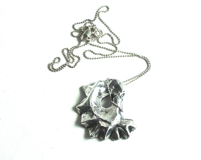 Antiqued 925 Solid Sterling Silver Hand Carved Lost Wax Cast Rhode Island Oyster Shell on a Sterling Silver 1mm Diamond Cut Bead Chain