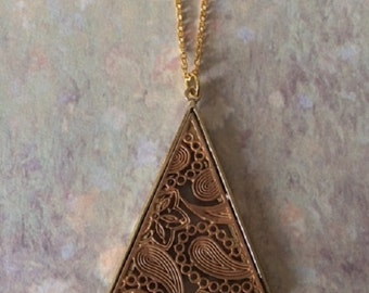 Triangle Necklace - Triangle Jewelry - Triangle Pendant - Triangle Pendant Necklace - Brown Necklace - Unique Necklace - Unique Jewelry