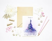 Princess Castle Happy Birthday 'Have a Magical Day'. Paris Castle Greeting Card. A6 Disney Cinderella Castle. Watercolor Style Disney Art.