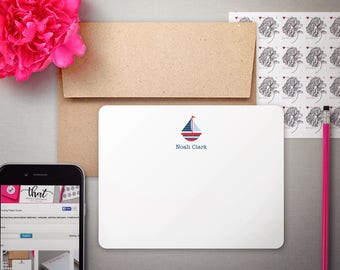 Personalized Stationery | Notecard Set | Custom Stationary | SUMMER SAILING | Nautical Thank You Notes | Boys Sailboat Note Cards