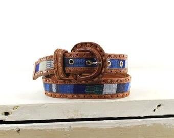 woven Guatemalan leather and fabric belt • woven blue belt •  boho Guatemala belt S
