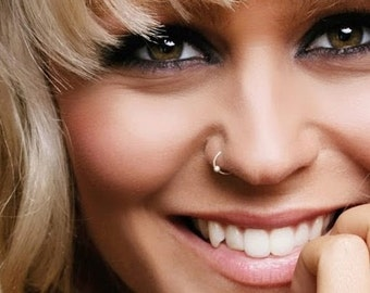 Rose Gold Nose Ring , 24g NOSE RING, Nose Hoop Ring, Nose Piercing, Thin Nose Hoop, Silver Nose Ring, Dot Nose Ring, Body Jewelry