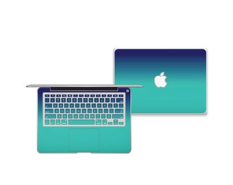 MacBook Cover Skins -Blue-Teal Ombre Pattern
