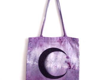 amethyst luna : moon tote bag. OOAK. hand dyed & hand painted.