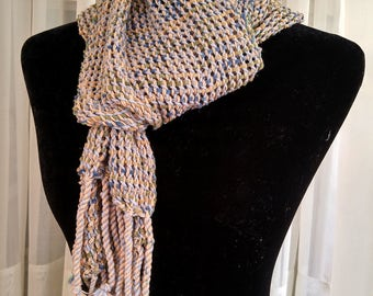 Hand-woven lacy mesh light-weight scarf in neutral blue gray tan and green   loose woven lace scarf   multicolor leno lace scarf   spring
