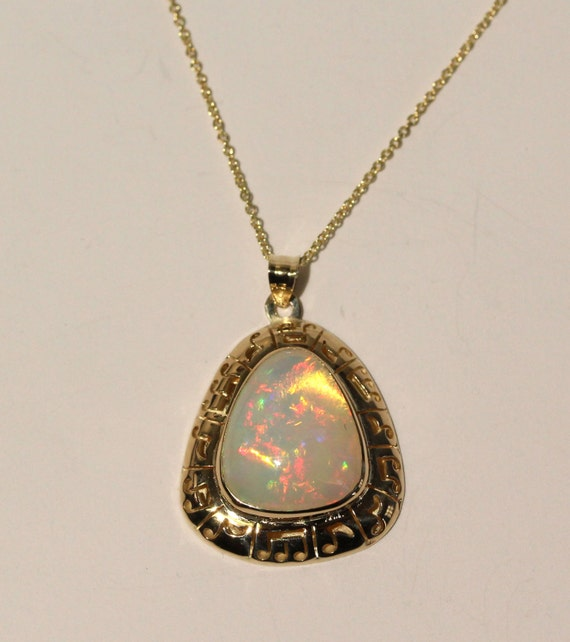 Natural Opal Pendant - 14k Yellow Gold - Gemstone Necklace -  Jewelry -  #1459 Watch Video!
