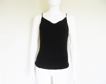 black cowl neck tank top