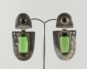 1990's Vintage Sterling Bezel Set Green Glass Drop Earrings Cutout Silver Earrings Green Silver Earrings Dangly Earrings Gift For Her