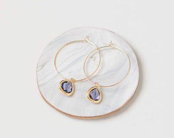 Gold Hoop Earrings Glass Charm, Hoop Earrings, Gold Hoop Earrings, Gifts for women, Gifts for mom, Gifts for sister, Gifts for girlfriend
