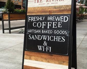 Custom Sandwich Board Sign / Reclaimed Wood / Event Sign / Restaurant Sidewalk Chalkboard