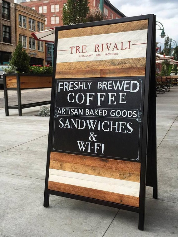 Custom Sandwich Board Sign Reclaimed Wood Event Sign