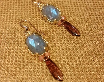 Laboradite Earrings, Gold fill,pink coral beads, purple glass drop,