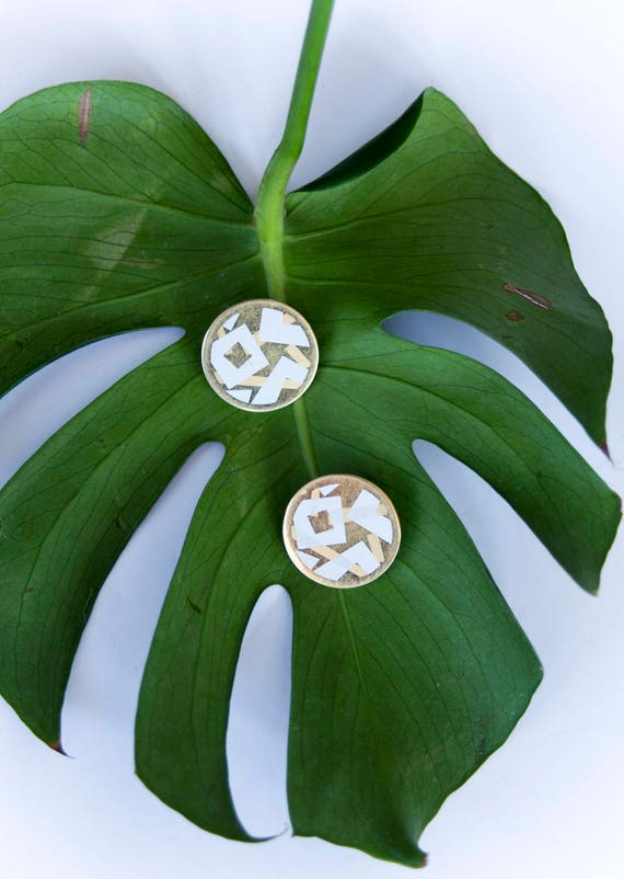 Gold + White Cubist Disc Earrings
