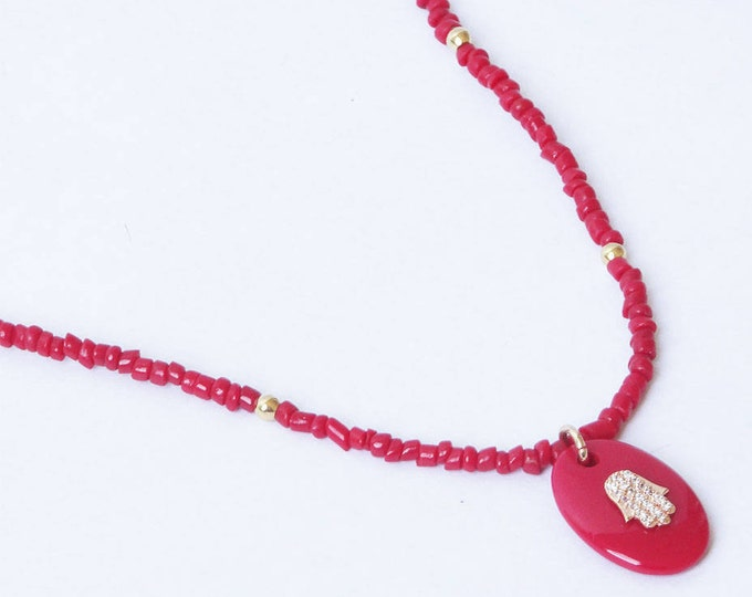 RAS of the neck in coral with a hand of Fatima pendant paved