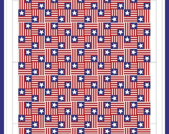 """Women's March American Flag Patriotic Quilt Poster Art 11x17 - """"E Pluribus Unum"""" - Gift for Him or Her - Revolutionary Sewing Room"""