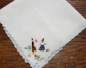 Vintage Handkerchief with Embroidered Couple #54