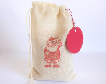 Santa Claus Holiday Gift Bag with tag with stamp goodies treat sack