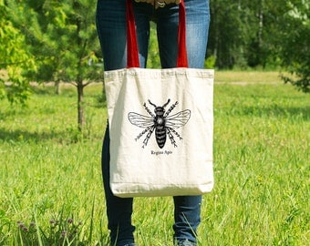 """Feminist Tote Bag: """"Queen Bee"""" Tote from Fourth Wave Feminist Apparel. Great gift!"""