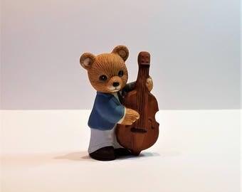 Base Fiddle Bear, Boy Fiddle Bear, Musical Bear, Collectible Bear, Vintage Homco Bear, Ceramic Bear, Made in Sri Lanka, Knick Knack, Musical