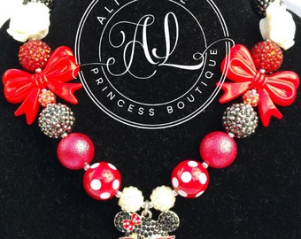 New! Nerd Minnie Mouse Inspired Disney Princess Rhinestone Necklace - Bows and Polkadots, Red, White and Black