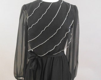 Black & Silver Disco Dress by Amy-Deb, Vintage 1970's, M