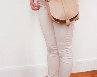 Leather handbag, small saddle bag, crossbody bag, shoulder bag, genuine leather, linen fabric, adjustable shoulder strap, pocket inside,zip