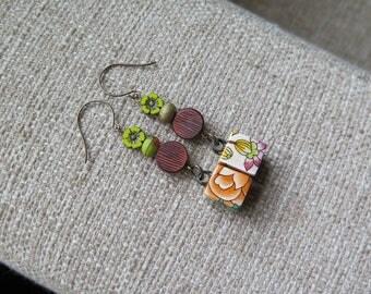 flower earrings, garden earrings, orange earrings, summer earrings, Mothers day gift, gift, floral earrings, floral jewelry, summer jewelry