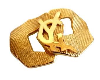 YVES SAINT LAURENT ~ Authentic Vintage Gold Plated Brooch - Monogram Logo