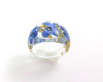 Forget me not Resin ring, Nature ring, Real flower ring,  Pressed flower jewelry, Flower in resin, Botanical jewelry, Jewellery