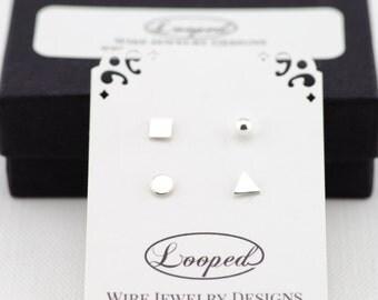 Minimalist Earrings Silver Geometric Studs Set 2 Pairs