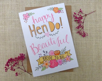 Happy Hen Do - Bride to Be - quirky hand drawn greeting card