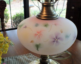 Vintage Fenton Hand Painted Satin Glass Table Lamp on Antique Brass Base