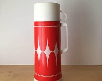 Vintage Aladdin Brand Flask- Bright Red and White