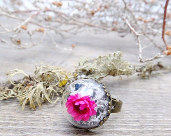 Flower ring, terrrium ring, valentine gift, bohemian ring, botanical jewelry, plant ring, romantic ring, pink flower ring