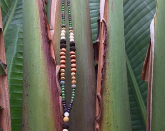 long, cowry shell, beaded boho necklace