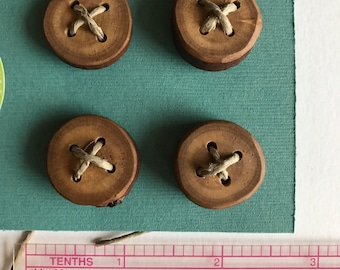 Four pack of wood buttons, 3/4 inch, hand made. Free shipping on 10 dollars or more- see details.
