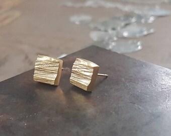 Gold square earrings, geometric square stud earrings, gold earrings studs, gold square studs, rustic stud earrings, small gold earrings