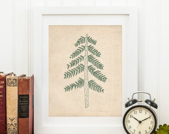 Pine Tree Printable Conifer Print Evergreen Wall Art Woodland Decor Woodland Nursery Wall Art Camping Decor Outdoors Decor Adventure Decor