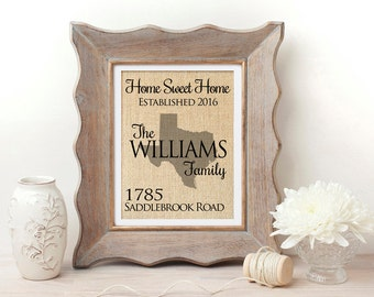 Home Sweet Home | New Home Housewarming Gift | Burlap State Print | Housewarming Gift | First Home | Our First Home | Real Estate | New Home