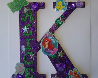 """Ariel Wooden Letters Large 8"""" - The Little Mermaid - ANY Letter available"""