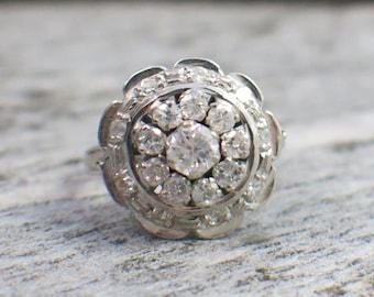 14K White Gold Vintage Tiered Diamond Ring