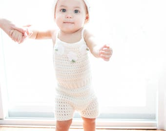 Crochet Baby Romper, Baby Easter Outfit, Knit Baby Romper, Newborn Romper, Cream Baby Romper, Baby Wedding Dress, Newborn Girl Photo Prop