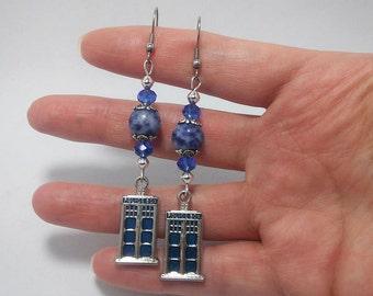 Adorable Sodalite and Crystal TARDIS dangle earrings