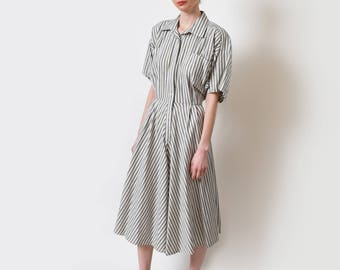 "Norma Kamali Pinstriped Shirt Dress Vintage Striped Cotton Linen Shirtdress Designer 30"" M"