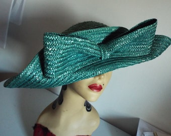 VINTAGE Ladies HAT 1950's Large   Brim Teal Straw Upturned Brim Front with Bow by Siggi ITALY