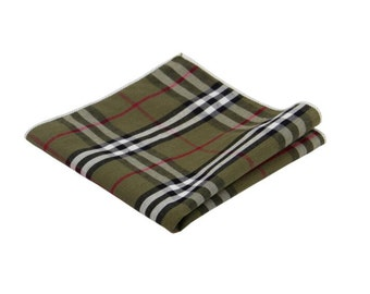 Olive Green Plaid Pocket Square.100% Cotton.Wedding.Gifts.