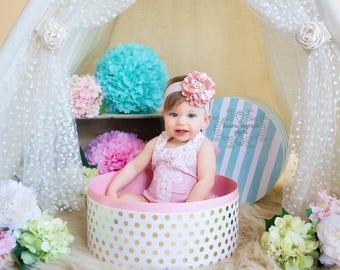 Baby Headband Headwrap, Pale Pink Flower Headband, Baby Bows, Pale Pink Baby Headband, Big Flower Headband, Flower Girl Headband, 827