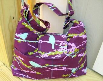 POCKETBOOKS, Cross Body Hobo Bag, Women's Purses, Bird Bag, Tote, Bookbag, Handmade, Ready To Ship
