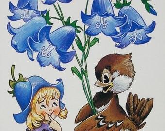 Congratulations! - Illustrator Chetverikov. Vintage Soviet Postcard, 1989. Girl, Thumbelina, Sparrow, Ladybug, Ladybird, Bellflowers